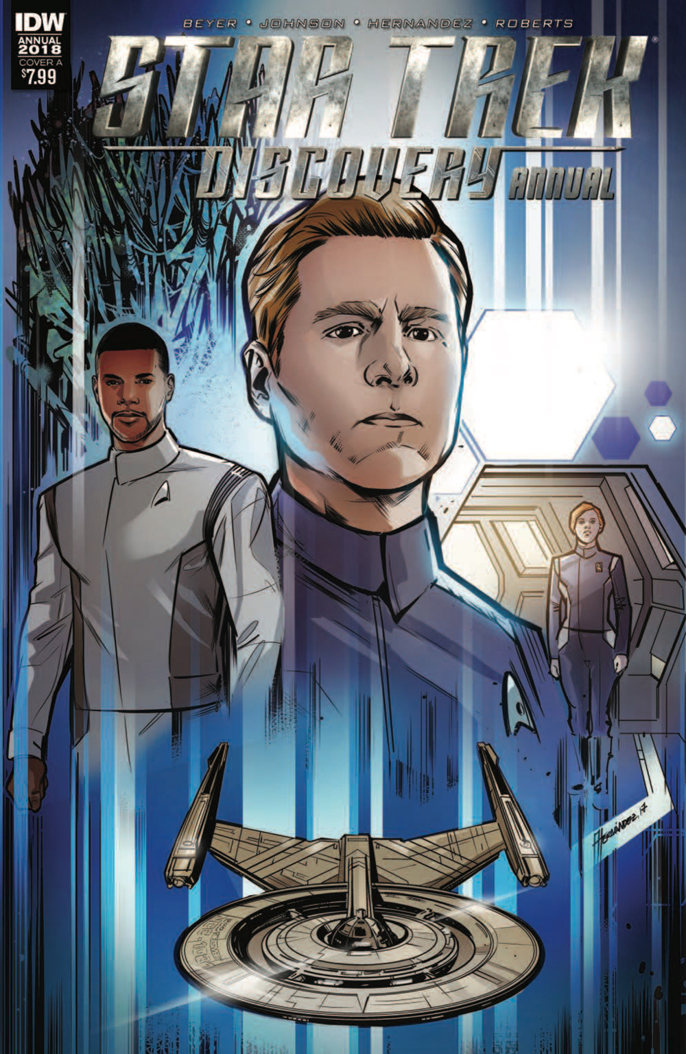 Cover art for this comic: sketches of Stamets, Culber and Tilly.